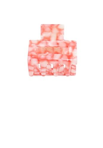 Glamorousky silver Simple and Fashion Pink Stone Grain Geometric Small Hair Claw 1ABDCAC2B9FEA1GS_1