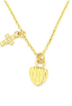 Cross and Heart Plated Necklace