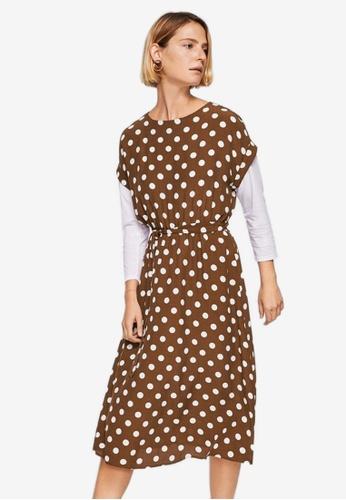 Mango brown Polka Dot Midi Dress 41CF2AA523873BGS_1