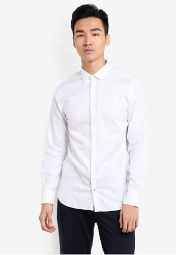 MANGO Man white Slim-Fit Textured Cotton Shirt MA449AA21GBYMY_1
