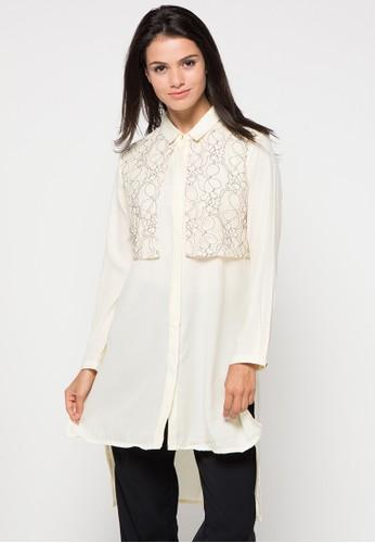 SIMPLICITY white Long Sleeve Blouse SI536AA78XYJID_1