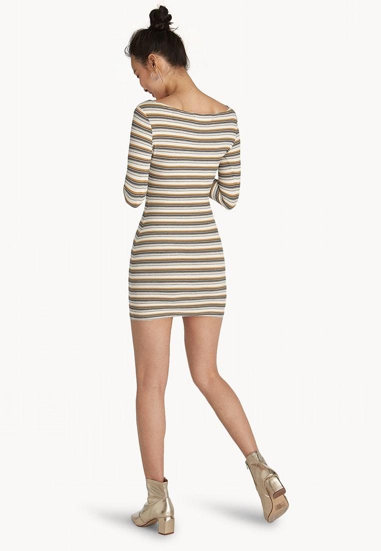 Dress Pomelo Bodycon Brown Ribbed Mini Brown S0UqwH4W