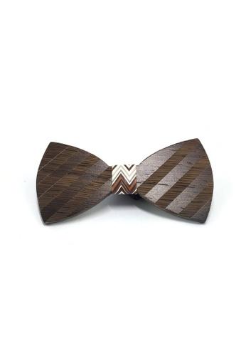 Splice Cufflinks Grove Series Striped Design Dark Wood Bow Tie SP744AC91QQASG_1