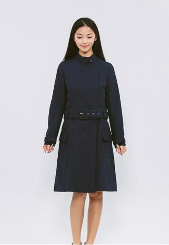 有機棉混紡深藍格紋大衣, 服飾, 夾克esprit旗艦店 & 大衣