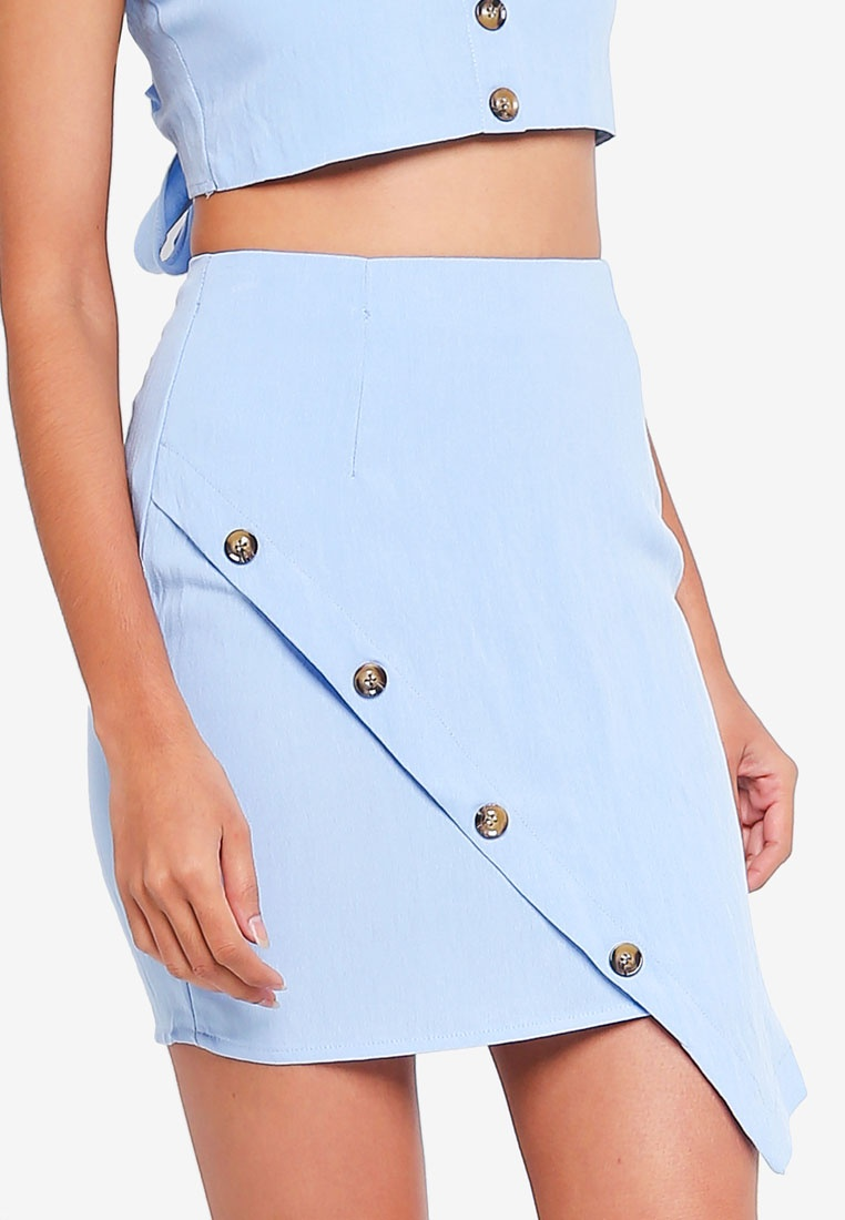 Blue Wrap Button Ord Co Skirt MISSGUIDED PX4q1T