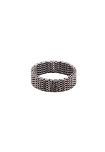 SKEDA black Thick Wire Mesh Ring A141EAC11A8E9AGS_1