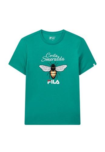 FILA green FILA Logo Animal Print Cotton T-shirt 910F9AAECEA8FCGS_1