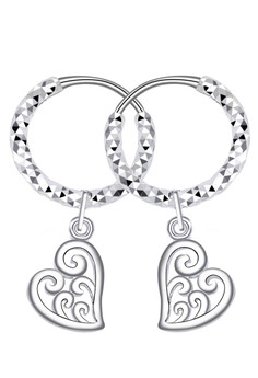 Curly Heart Loop Dangling Earring