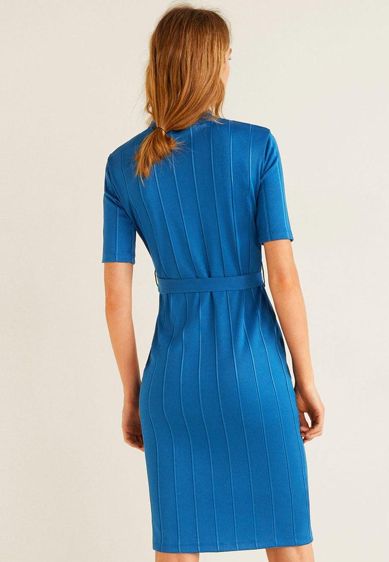Ribbed Dark Belt Mango Blue Dress THnzF