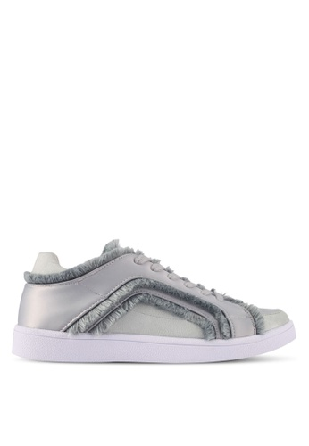 ZALORA grey Raw Edge Frills Lace-Up Sneakers D7289SHF4024A3GS_1