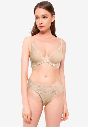 Calvin Klein 米褐色 Perfectly Perennial Plunge Bra - Calvin Klein Underwear 12350US19775BBGS_1
