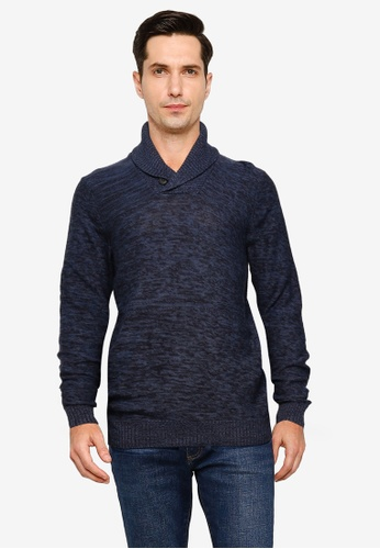 !Solid navy Luck Shawl Collar Sweater B7A06AA6871626GS_1