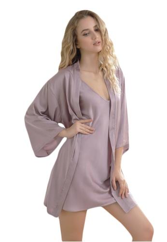LYCKA purple LCB2162-Lady Sexy Robe and Inner Lingerie Sets-Purple 576C8US779B08FGS_1