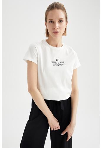 DeFacto beige Short Sleeve Round Neck Cotton T-Shirt FB5A3AAB052704GS_1