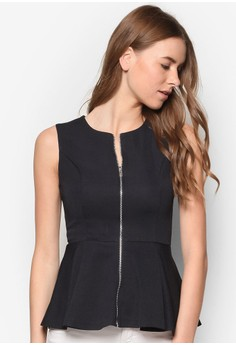 Collection Zipped Peplum Top