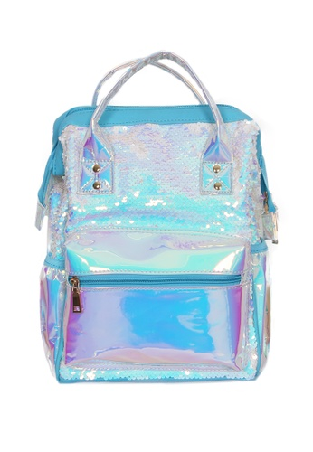 Adkidz blue Adkidz Holographic and Sequin Backpack CF4E0KC4ADC593GS_1