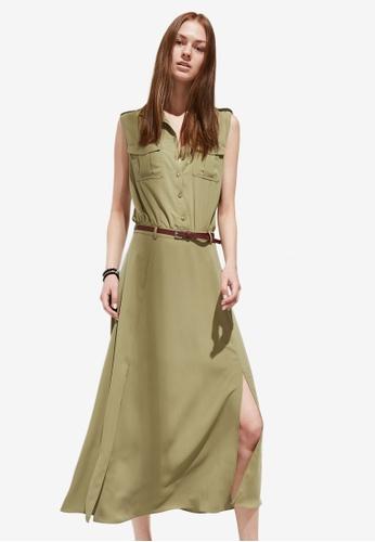 Hopeshow green Utility Side Slit Midi Dress 751F5AAFA324E6GS_1