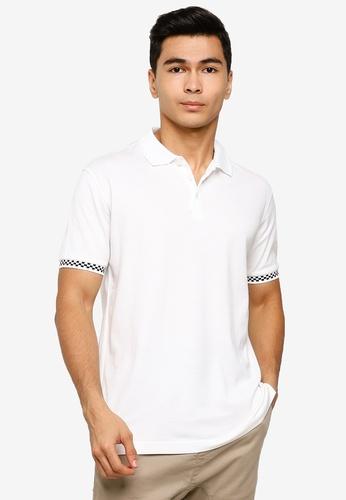 UniqTee 白色 Polo 襯衫 With 格紋Cuff 2F85AAADD1AFE8GS_1