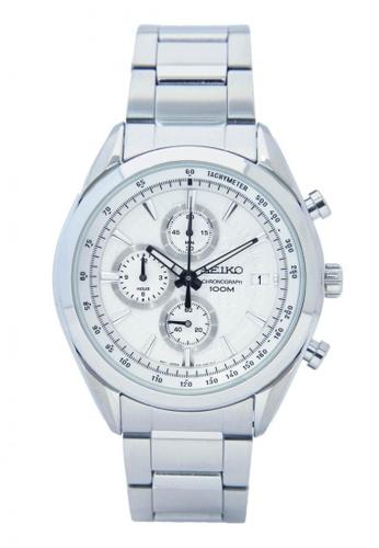 Seiko white and silver Men's Chronograph Quartz Watch SE169AC35ANOSG_1