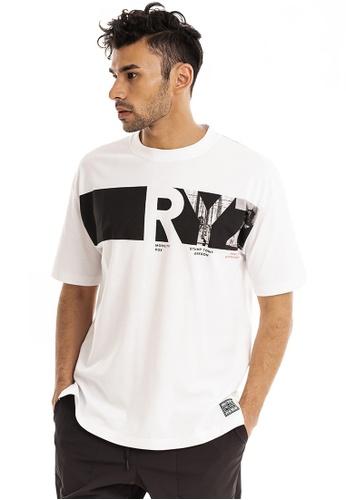 RYZ white RYZ Logo Block Letter White Short Sleeve T-Shirt. CE56FAAE68F3E1GS_1