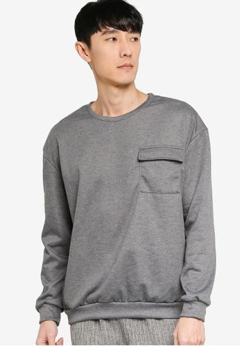 ZALORA BASICS grey Pocket Detail Sweatshirt 16B0EAA037ECE0GS_1