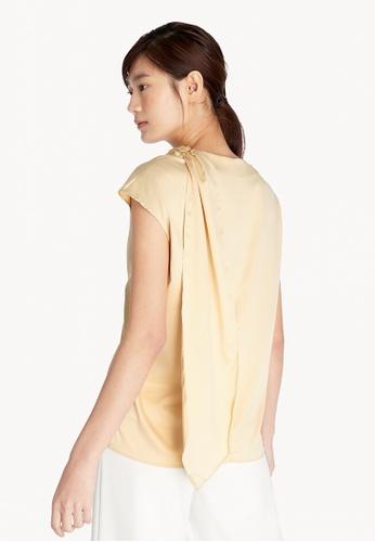Pomelo beige Satin Cowl Neck Top - Cream 09851AAE8EE38BGS_1