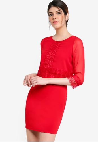 Wallis red Petite Red Lace Trim Dress WA800AA75JWAMY_1