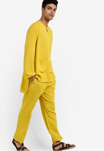 Rizalman for Zalora yellow Borouj Baju Melayu RI909AA71XIEMY_1