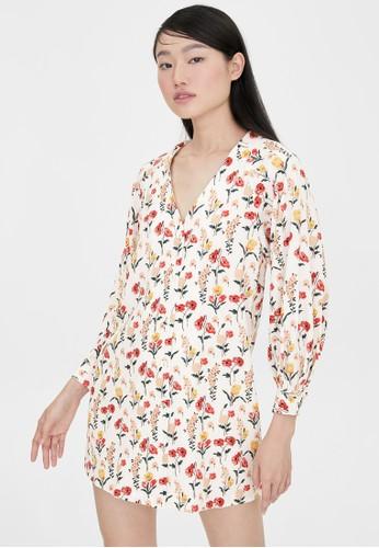 Pomelo white Floral Print Belt V Neck Dress - White C896DAABA4E290GS_1