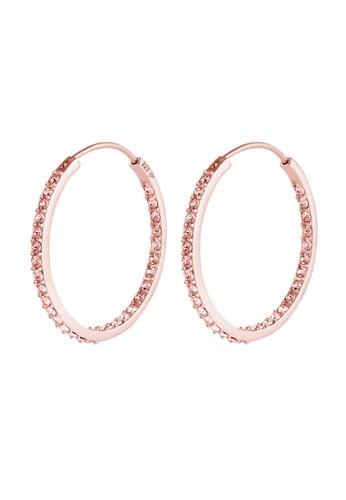 Elli Germany pink Perhiasan Wanita Perak Asli - Silver Anting Glamor dengan Crystal Rosegold Plated DE8C8ACDEC4D40GS_1
