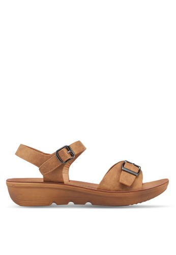 Noveni brown Buckle Strap Sandals EE422SH5B630D5GS_1