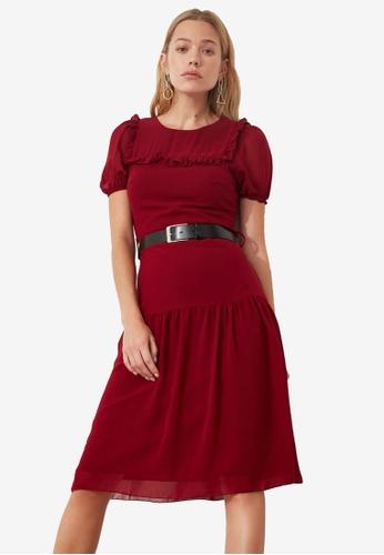 Trendyol red Frill Trim Detail Dropped Hem Dress 3163FAA67971D1GS_1