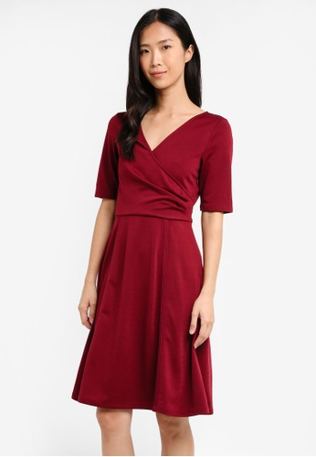 ZALORA red Pleated Faux Wrap Dress 8EFE0AA9203A36GS_1