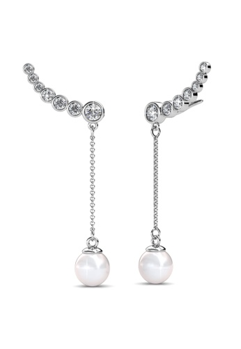 Her Jewellery Delia Pearl Earrings -  Made with premium grade crystals from Austria HE210AC30IPHSG_1