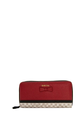 SEMBONIA red Coated Canvas Trimmed Leather Accordion Wallet (Red) SE598AC0SZNZMY_1