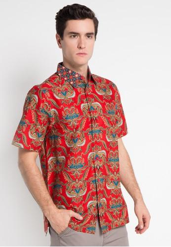 Batik Solo red Short Sleeve Cotton Print Shirt BA657AA0WFMZID_1