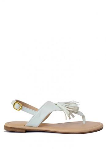 HDY white Agatha Tassel Flat Sandals HD484SH92OFRPH_1