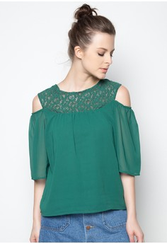 Cold Shoulder Top With Lace Upper Yoke