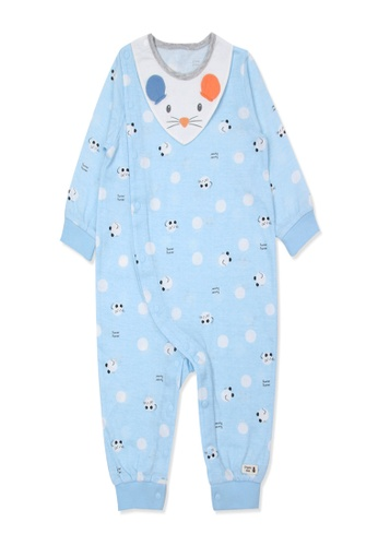 Organic mom blue Organic Cotton Ade Mouse Swaddle Gown AE197KA6CB1C48GS_1