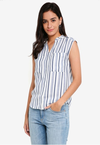 ZALORA BASICS white Double Pocket Top 4F148AAC830F64GS_1