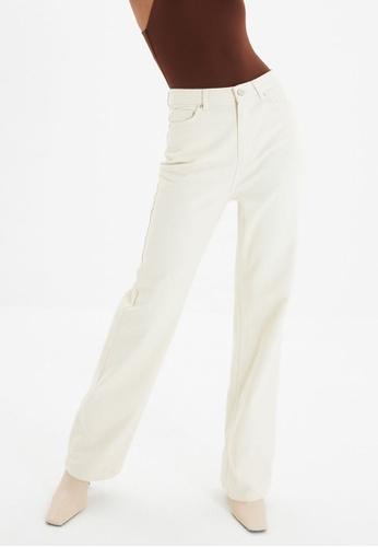 Trendyol white Ecru High Waist Wide Leg Jeans BE387AAF425125GS_1