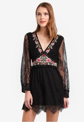 TOPSHOP black Lace Detail Mini Dress 8F46EAAF22E71CGS_1