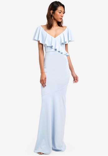 Goddiva blue Frilled V Neckline Maxi Dress DD60DAAB6CAD5EGS_1