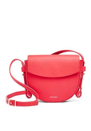 Skagen red Skagen Lobelle Leather Mini Saddle Bag SWH0213684 SK533AC48CFZMY_1
