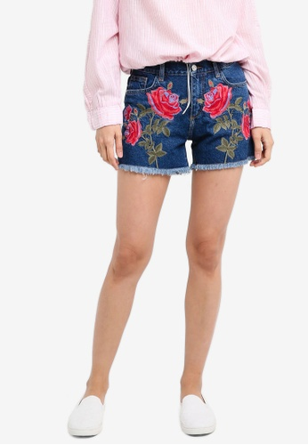 Mango blue Embroidered Denim Shorts 84F48AACECF11BGS_1