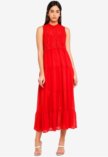 Guess red Marisol Ruffled Maxi Dress 6A886AA28C050EGS_1