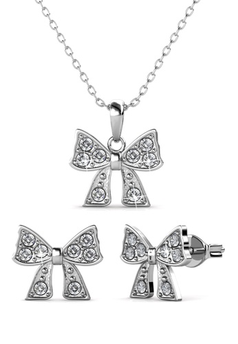 Her Jewellery silver Mini Ribbon Set - Made with Premium grade crystals from Austria 52D4CAC8C6367AGS_1