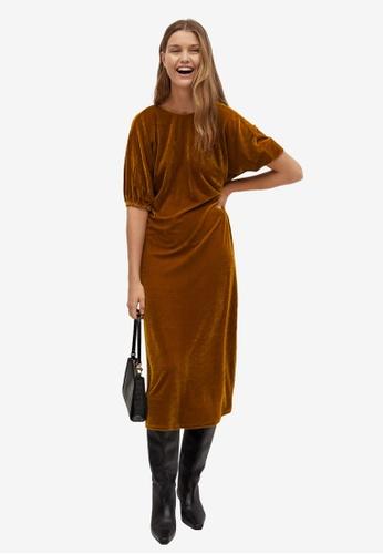 Mango yellow Flowy Velvet Dress 3CD3AAAE491362GS_1