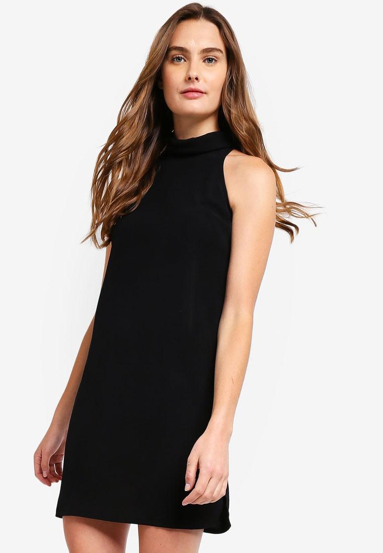 Basic Collar Black Neck Halter High ZALORA Dress BASICS HHSqAxr