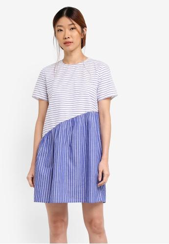 Something Borrowed white and blue Asymmetric Swing Dress EFCACAA940B5B8GS_1